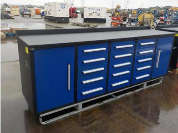 2020 10' Work Bench, Tool Cabinet, 15 Drawers, 2 Cabinets - construction equipment