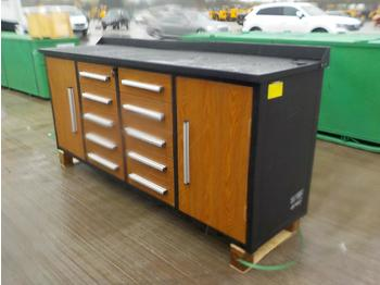 2020 7' Work Bench, Tool Cabinet, 10 Drawers, 2 Cabinets - construction equipment
