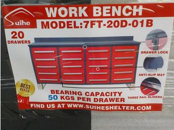 Unused 2020 7' Work Bench, Tool Cabinet, 20 Drawers - construction equipment